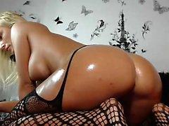 Blonde MILF masturbates on a webcam