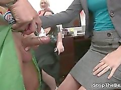 Blonde office chick sucking big stripper