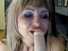 Russian Mature Blonde Sucking Dildo