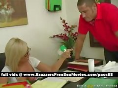 Horny blonde doctor in her office gets a pacient in