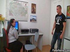 Office fatty seduces hot guy