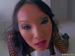Stunning asian porn queen Asa stuffs her ass with toy