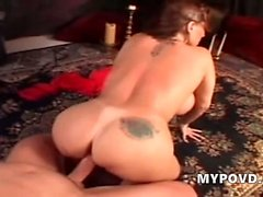 Gigantous tits chick fucked and rides slow