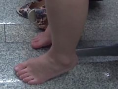 Candid Asians Feet legs Shoeplay at Airport