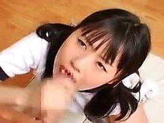 Sianhäntä japanilainen söpö ilmaisee tyytyväisyytensä raskas lasti siemennesteen