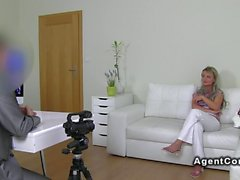Blonde Czech amateur babe has casting
