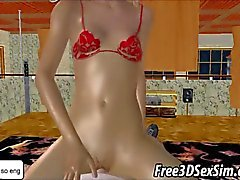 Blonde dos desenhos animados 3d a quente suga uma torneira eo fodida
