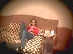 Meisje masturbeert in Hotel Room