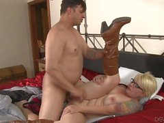 Blonde MILF Missy Monroe in leather boots gets nailed