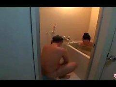 Chubby Asian Amateur Masturbates Boyfriend In Shower