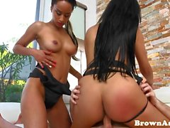Brown ass models feasting on cock in trio