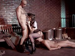 Sexy Policewoman gets fucked by two homeless guys