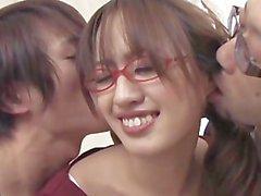 avmost - Japanese babe in eye-glasses having two erected belly sticks
