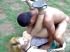 Blonde Tranny Gets Fucked Outdoor