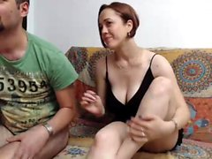 Sexy amateur chick in red panties performs a blowjob