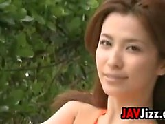 Japanese Chick Wearing A Bathing Suit