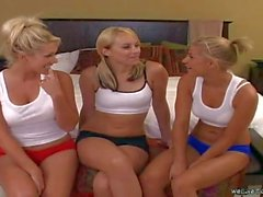 Nikki and Hayley in booty shorts seduce sporty blonde