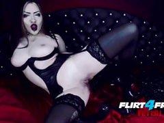 Goth Goddess Fucks Herself in Latex