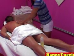 Real asian masseur in happy ending session