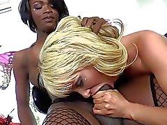 Ebony Tgirl Chanel fucked Mikkis pussy
