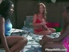 Two busty ebony sluts and one caucasian part2