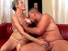 Busty grandma enjoys hard sex