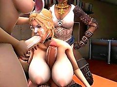 Blonden 3d Transvestiten Blasen und ficken auf Schwänzen
