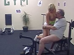 Older daddy and blondie in gym