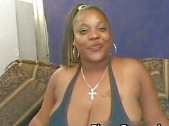 Black chick with giant tits gets fucked hard