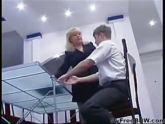 Lustful russian blonde mature fucked by young guy