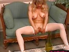 Big Tit Blonde Fucks Bottle