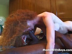 Skinny Mature Pussy Against A Big Black Cock