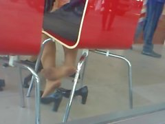 Candid Asian Nylon Feet Shoeplay in CAfe