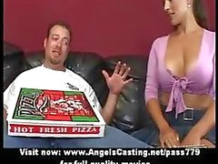 Lovely bored brunette does blowjob for pizza guy with pizza on cock