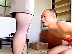 Japanese milf in pantyhose feet teasing with subtitles