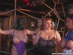 Masked whore gets her tits spanked