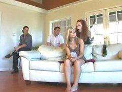 Couple dominate woman while the husband watches