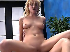 Lewd blondie wih tanlines gets her hairless pussy gangbanged