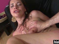 Brunette Olga satisfies a long cock