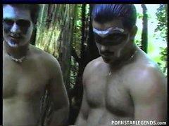Busty slut gets anal gangbang outdoors and facials