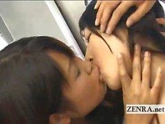 Сумасшедший общественной японской лесбиянки поцелуи оргия по поезду
