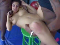 Vanessa Leon handles two black hard cocks