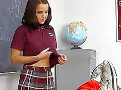 Lewd teacher bonks a schoolgirl in the classroom