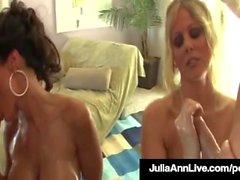 Hot Cougars Julia Ann & Lisa Ann Oil Up & Bang 2 Paus grandes!