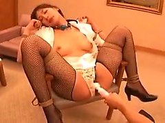 Submissive Oriental slut in lingerie gets drilled rough wit