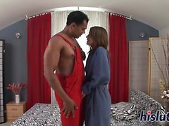 Intense interracial action with a desirable brunette