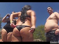 Big Butt Thongs Bikini Sexy Latinas Praia Voyeur Close-up
