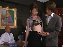 Dashing hardcore group sex with office lady, Maki Hojo