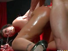 Hot babe Emma Heart has her tight ass pounded hard by a huge meat pole