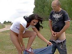 pregnant bitch vs 2 cocks outdoor